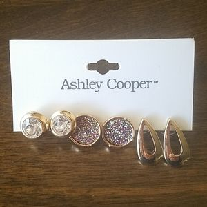 New Ashley Cooper 3 Pairs Stud Gold Earrings